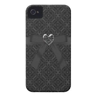 ハート黒いパターンiPhone 4を曲げて下さい及び宝石で飾って下さい Case-Mate iPhone 4 ケース