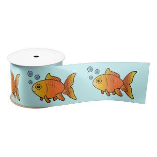 ハート3インチの金魚は泡立ちます サテンリボン