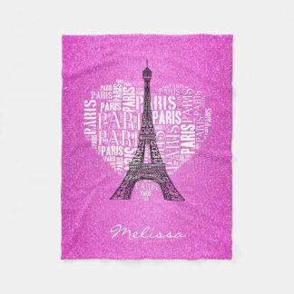 ハート のピンクのガーリーのタワー及び銘刻文字パリ フリースブランケット