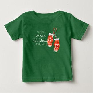 ハート|のワイシャツのエレガントなクリスマス ベビーTシャツ