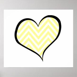 ハート、ジグザグパターン、シェブロンパターン-黄色 ポスター