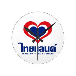 [ハート]タイの♦のタイ語の原稿の♦を愛して下さい ラウンド壁時計