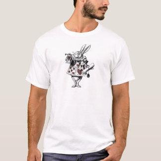 ハート-不思議の国のアリスの白いウサギ Tシャツ
