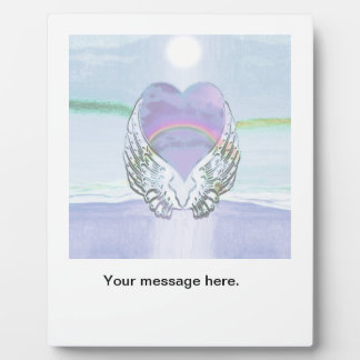 ハート、天使の翼及び海 フォトプラーク