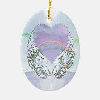 ハート、天使の翼及び海 陶器製卵型オーナメント