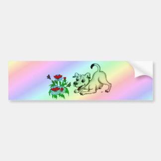 ハート、子犬及び蝶が付いている花 バンパーステッカー