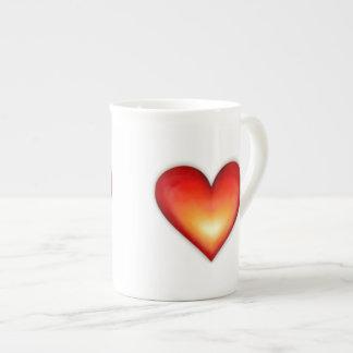 ハート-茶 ボーンチャイナカップ