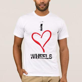 ハート、Iの車輪 Tシャツ