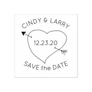 ハートnの矢の保存日付のかわいい結婚式のスタンプ ラバースタンプ