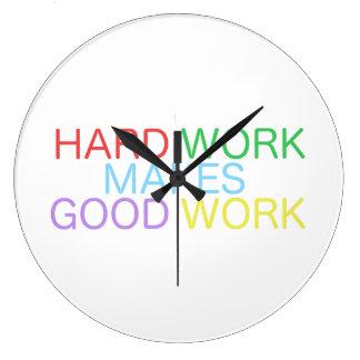 ハードワークはよい仕事を作ります ラージ壁時計