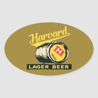 ハーバードラガービール 楕円形シール