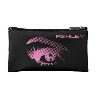 ハーフトーンのピンクの女性のスタイリッシュでかわいらしい目 コスメティックバッグ