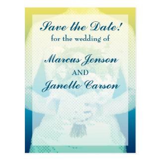 ハーフトーンの青および黄色の花嫁の郵便はがき ポストカード