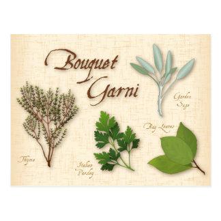 ハーブの花束のレシピ、湾、タイム、賢人、パセリ ポストカード