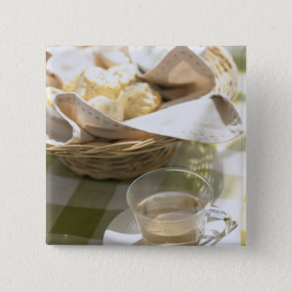 ハーブの茶およびトウモロコシ 5.1CM 正方形バッジ