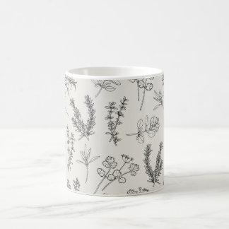 ハーブLineArt コーヒーマグカップ