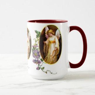 ハープおよびクレマチスの花との天使 マグカップ