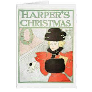 ハープ奏者のクリスマスのnotecard カード