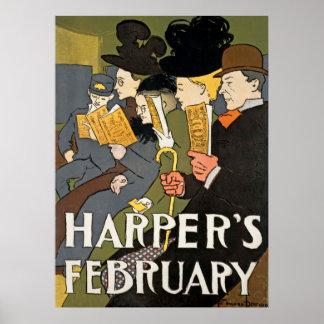 ハープ奏者の2月のヴィンテージポスター ポスター
