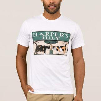ハープ奏者の7月猫Mの白 Tシャツ