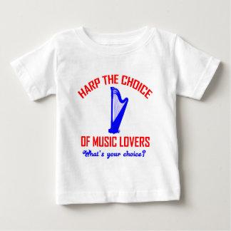ハープ音楽デザイン ベビーTシャツ