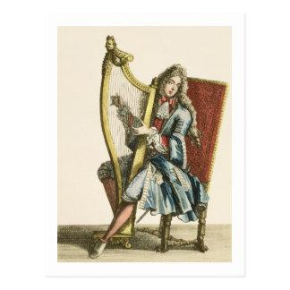 ハープ(版木、銅版、版画)を演奏している紳士 ポストカード