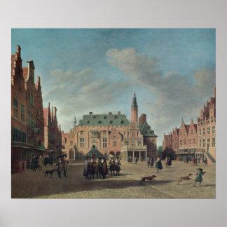 ハールレムのGrote Marktの眺め ポスター