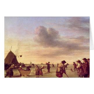 ハールレム1668年の近くの氷のゴルファー カード