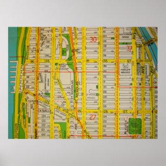ハーレムのマンハッタンヴィンテージの地図ポスター ポスター