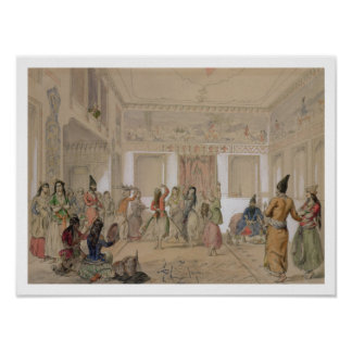 ハーレムの饗宴、テヘラン(紙の鉛筆及びw/c) ポスター