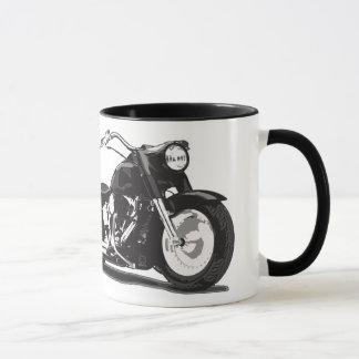 ハーレーの黒いオートバイ マグカップ