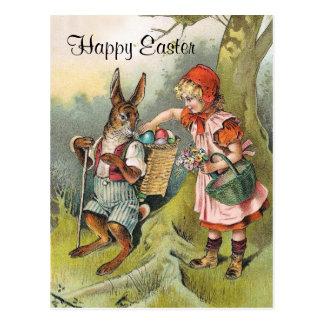 バイエルンのイースターのウサギのビクトリアンな女の子の郵便はがき ポストカード