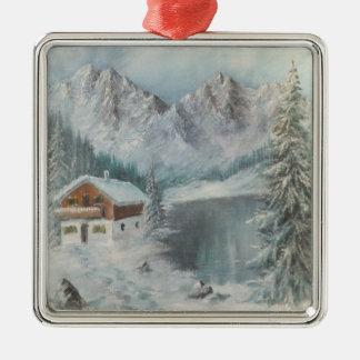 バイエルンの雪の夢を絵を描いているオーナメントアンヘイェズ メタルオーナメント