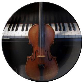 バイオリンおよびグランドピアノのキーボードのプレート 磁器プレート