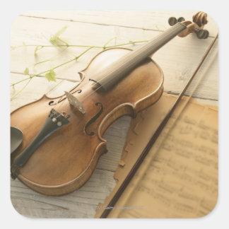バイオリンおよび楽譜 スクエアシール