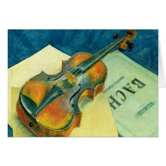 バイオリンが付いている静物画、1921年 カード