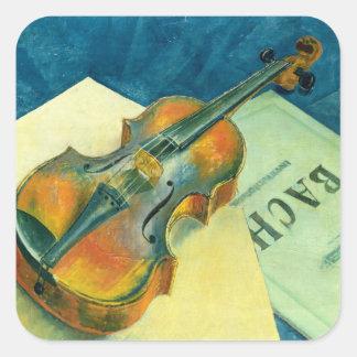 バイオリンが付いている静物画、1921年 スクエアシール