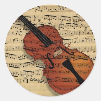 バイオリンのヴィンテージ音楽 ラウンドシール