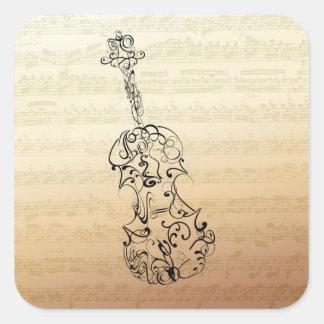 バイオリンの殴り書きのBachの原稿正方形のステッカー 正方形シール