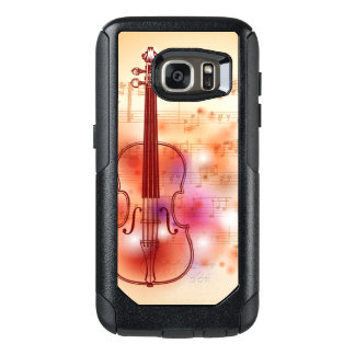 バイオリンの水彩画の背景で引くこと オッターボックスSamsung GALAXY S7ケース
