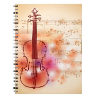 バイオリンの水彩画の背景で引くこと ノートブック