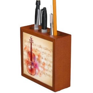 バイオリンの水彩画の背景で引くこと ペンスタンド