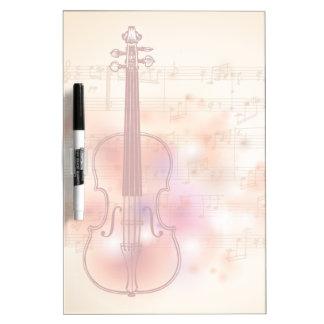 バイオリンの水彩画の背景で引くこと ホワイトボード