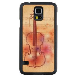 バイオリンの水彩画の背景で引くこと CarvedメープルGalaxy S5スリムケース