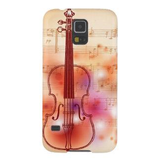 バイオリンの水彩画の背景で引くこと GALAXY S5 ケース