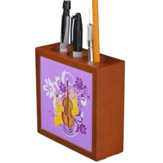 バイオリンの花の渦巻の紫色の机のオルガナイザー ペンスタンド