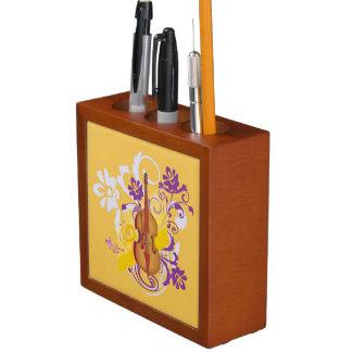 バイオリンの花の渦巻の金ゴールドの机のオルガナイザー ペンスタンド