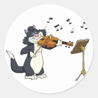 バイオリンを演奏している猫 ラウンドシール