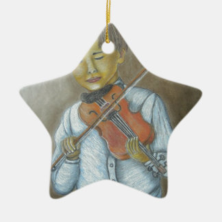 バイオリンを演奏している男の子 セラミックオーナメント
