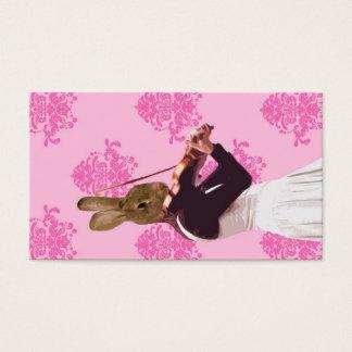 バイオリンを演奏するおもしろいのウサギ 名刺